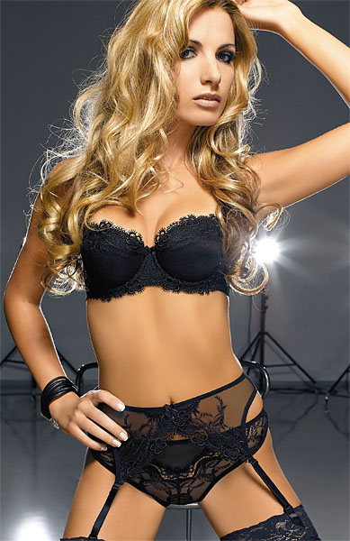 Ellice Padded Demi - black :  fine european lingerie high class lingerie eye catching lingerie elegant lingerie